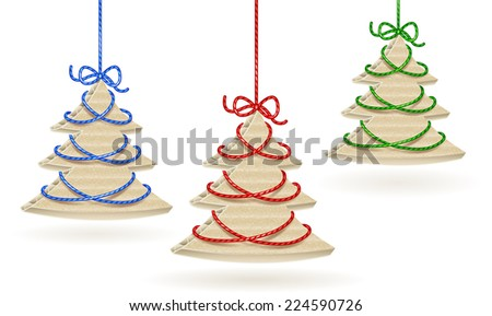 Cardboard X-mas Tree Set.  Isolated on white.  Raster Version. - stock photo