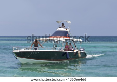 CARTAGENA, COLOMBIA - OCTOBER 29, 2015: Small boat at Islas Rosario 100 km from Cartagena. It is one of the 46 Natural National Parks of Colombia.