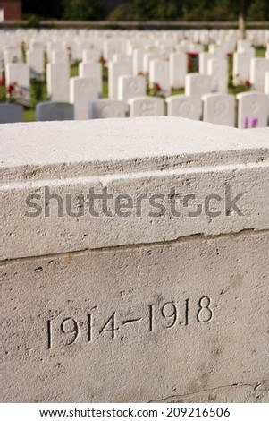 1914 - 1918 carved in stone at Menin Road South Military Cemetery, Flanders, Belgium. Commemorating World War One  - stock photo