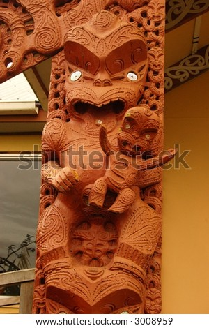 Carved wooden figure at Pa Whangario ancient Maori stockade - stock photo