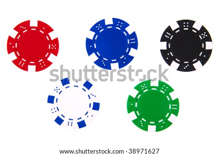5 casino chips each different color isolated on white