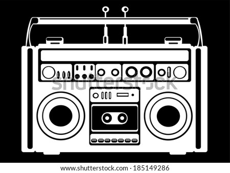 cassette recorder on black background