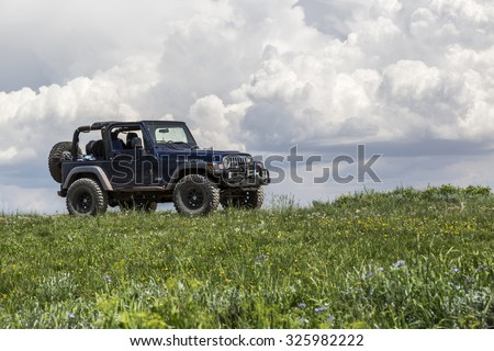 Castle Dale, Utah - June 30, 2015: Jeep Wrangler Rubicon on a back country four wheel drive trail along Utah's Skyline Drive.