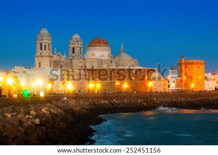 Cathedral of Cadiz in evening  time. Andalusia, Spain   - stock photo