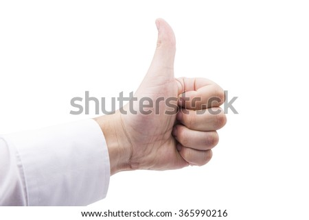 Caucasian hand giving a thumbs up