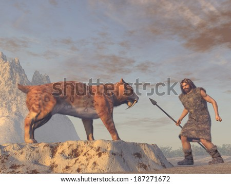 Caveman and Saber Tooth Tiger - stock photo