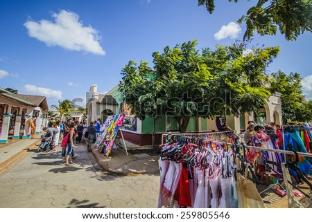 - Cayo Santa Maria, Cuba. February 19th 2015. Little Outdoor Market for tourists called Pueblo where it is possible to buy souvenirs and local products to bring back home. - stock photo