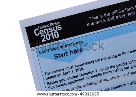 2010 Census form close-up, isolated on white with path