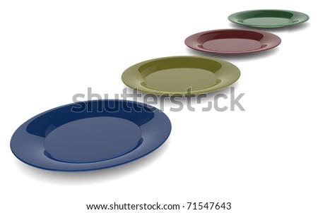 4 ceramic plates - stock photo