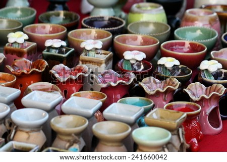 ceramic pot background - stock photo