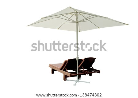 chairs with beach umbrella isolated on white background