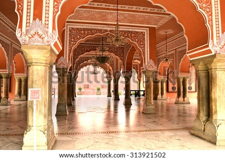 Chandra Mahal museum, City Palace at Pink City, Jaipur, Rajasthan, India.