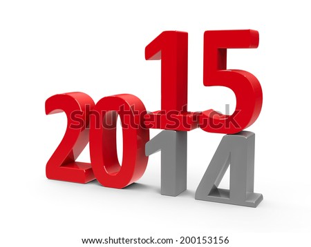 2014-2015 change represents the new year 2014, three-dimensional rendering - stock photo