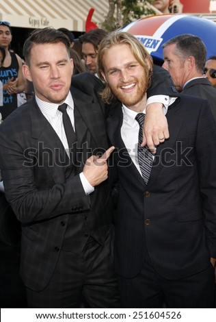 "Channing Tatum and Wyatt Russell at the Los Angeles premiere of ""22 Jump Street"" held at the Regency Village Theatre in Los Angeles on June 10, 2014 in Los Angeles, California.  - stock photo"