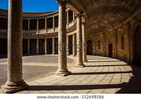 Charles the 5th palace at La Alhambra in Granada  - stock photo