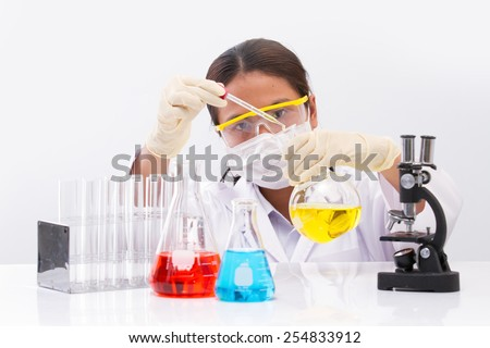 chemical lab research at laboratory. - stock photo