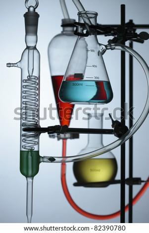 chemical laboratory background - stock photo