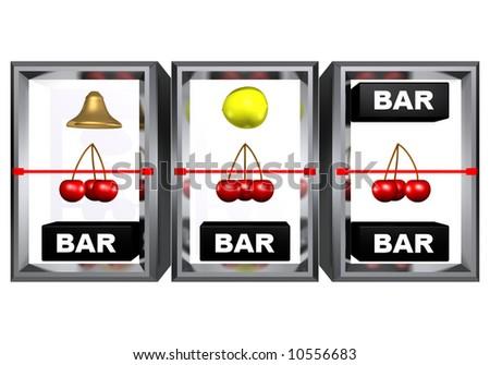 3 cherries on a line, slot machine - stock photo