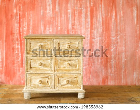 chest of drawers, shabby chic, free copy space - stock photo