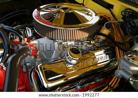 65 chevelle engine - stock photo