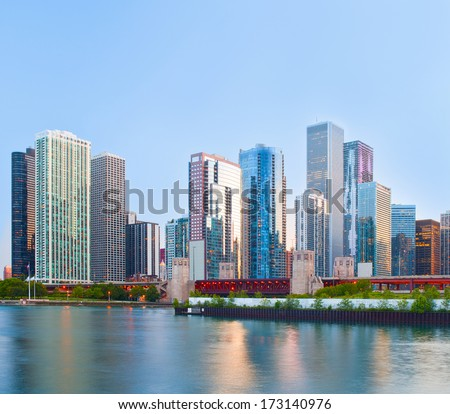 Chicago downtown buildings at sunset   - stock photo