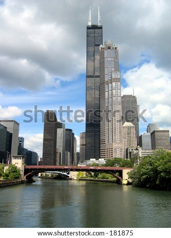 Chicago skyline with River - stock photo