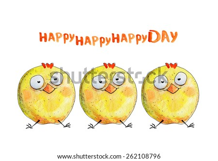 3 chicken. Happy day. Watercolor illustration. Hand drawing - stock photo