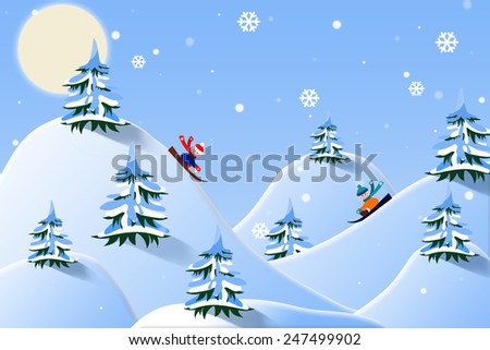 Children ride the mountain on a sled. Illustration. Christmas expectation