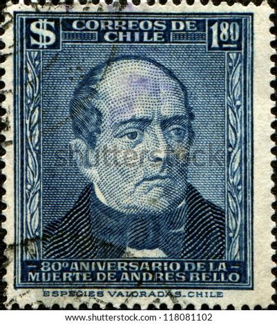 CHILE - CIRCA 1961: A stamp printed in the Chile shows Andres Bello, Venezuela-born Writer and Educator, circa 1961 - stock photo