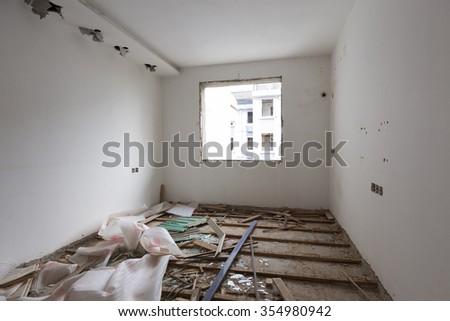 China Inside the building, demolished - stock photo