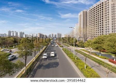 China Wuxi city roads - stock photo