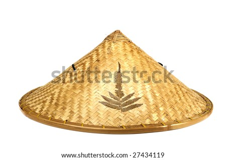 Chinese bamboo farmer hat - stock photo