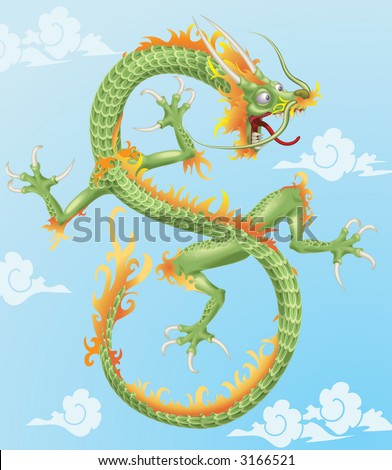 Chinese Dragon An illustration of an oriental style dragon. . Raster version - stock photo