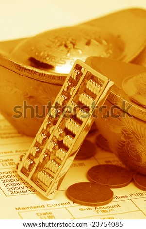 chinese gold ingots and coin - stock photo