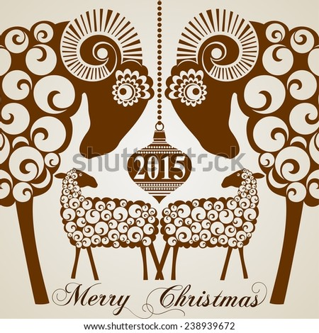 2015 Chinese New Year of the Goats and Sheep. Raster  illustration. - stock photo