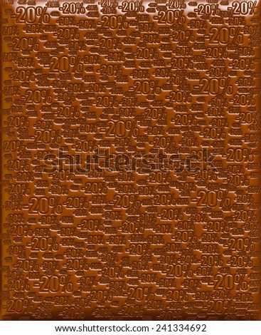20% chocolate background - stock photo