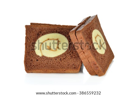 Chocolate bread with vanilla roll at center on white background. - stock photo