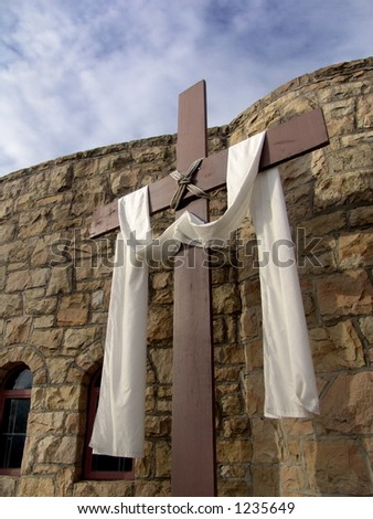 Christian cross with cloth