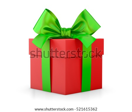 Christmas and New Year's Day, red green gift box white background 3d rendering