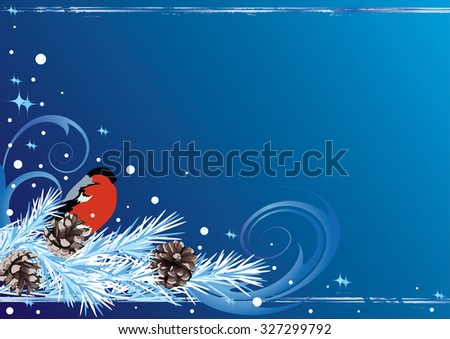 Christmas background with bullfinch and fir - stock photo