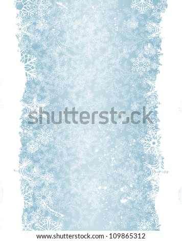 Christmas background with snowflake border - stock photo