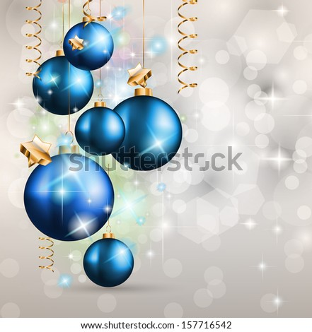 2014 Christmas Colorful Background with a waterfall of ray lights and a lot of baubles and stars. - stock photo