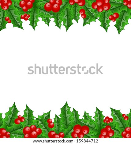 Christmas decoration holly berry branches - raster