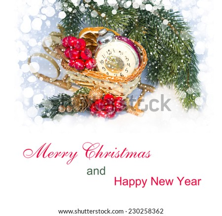 2015 Christmas decoration on light  background and a snow - stock photo