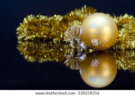 2015 Christmas Decoration reflected in mirror on dark  background - stock photo