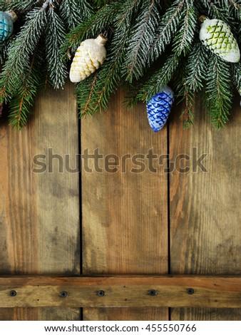 christmas decorations on boards, xmas - stock photo