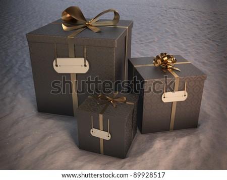3 christmas gift boxes on snow - stock photo