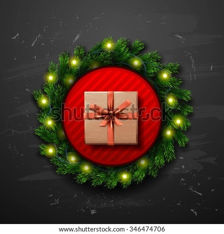 Christmas Greeting Card with gift box. Happy new year xmas - stock photo
