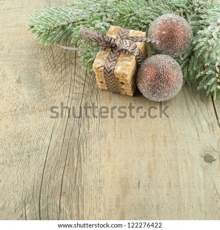 Christmas homemade cookies with decoration on wooden table. - stock photo