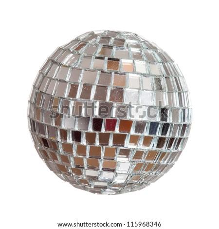 Christmas mirror sphere isolated on white - stock photo